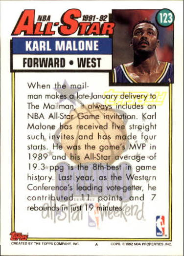 1992-93 Topps Gold #123 Karl Malone AS back image