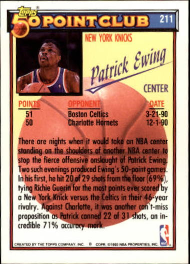 1992-93 Topps Gold #211 Patrick Ewing 50P back image