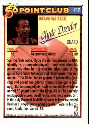 1992-93 Topps Gold #212 Clyde Drexler 50P back image