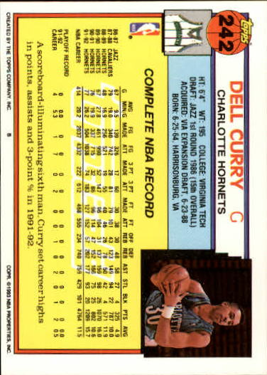 1992-93 Topps Gold #242 Dell Curry back image