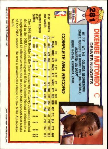 1992-93 Topps Gold #281 Dikembe Mutombo back image