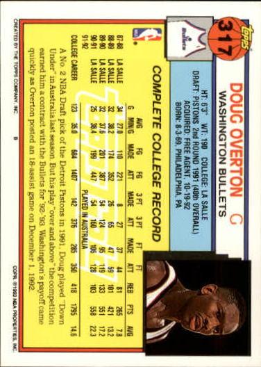 1992-93 Topps Gold #317 Doug Overton back image
