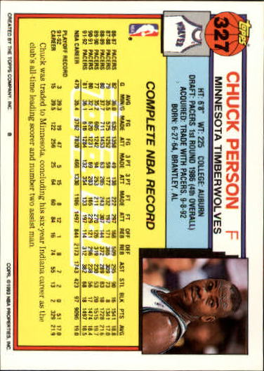 1992-93 Topps Gold #327 Chuck Person back image