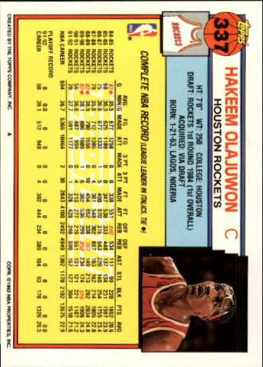 1992-93 Topps Gold #337 Hakeem Olajuwon back image