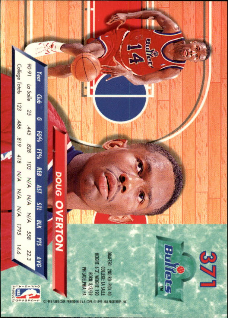 1992-93 Ultra #371 Doug Overton back image