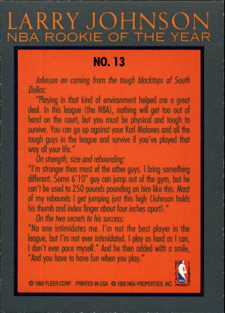 1992-93 Fleer Larry Johnson #13 Larry Johnson back image