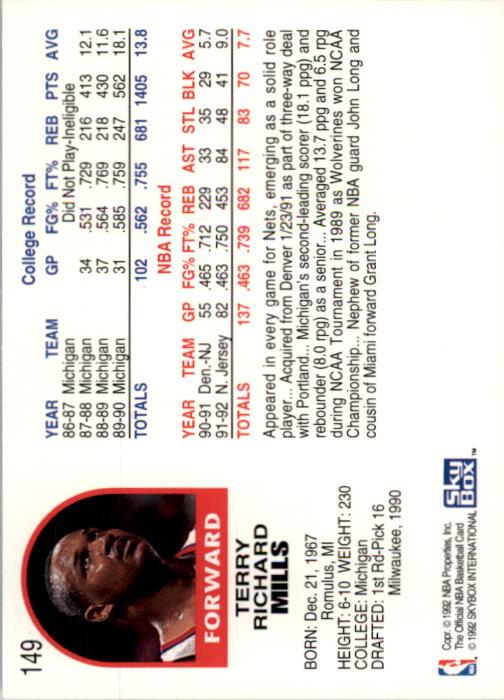 1992-93 Hoops #149 Terry Mills back image