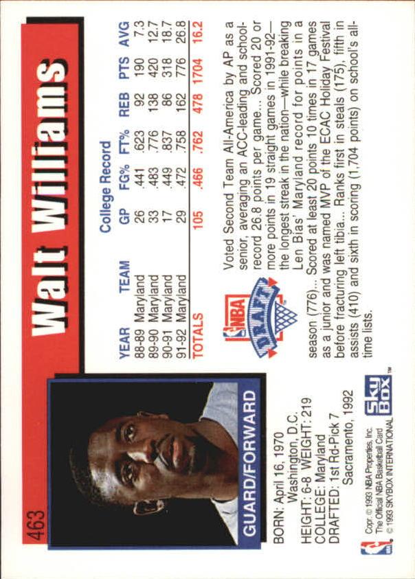 1992-93 Hoops #463 Walt Williams RC back image