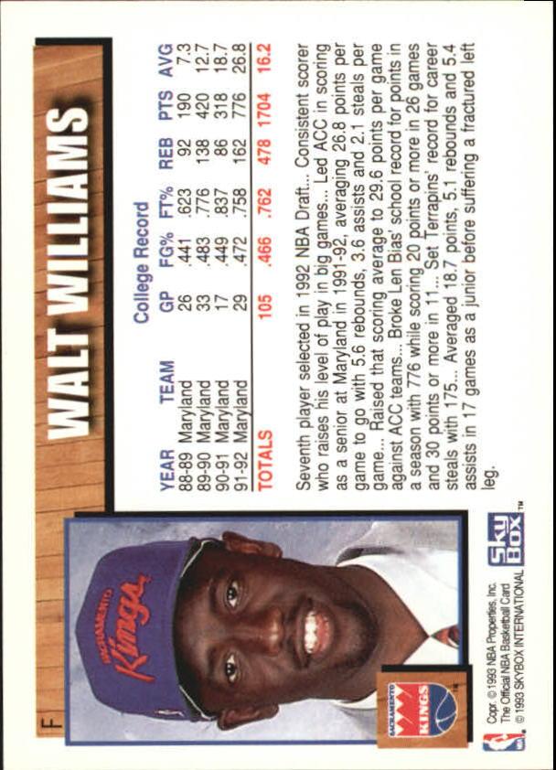 1992-93 Hoops Draft Redemption #F Walt Williams back image