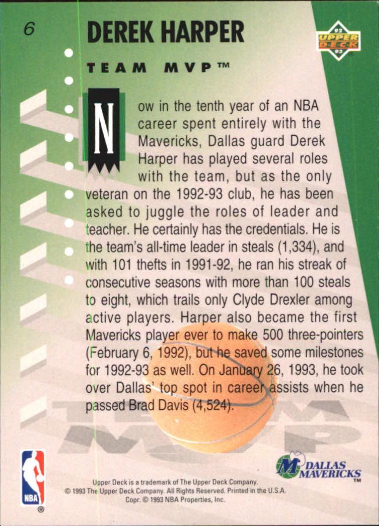 1992-93 Upper Deck MVP Holograms #6 Derek Harper back image