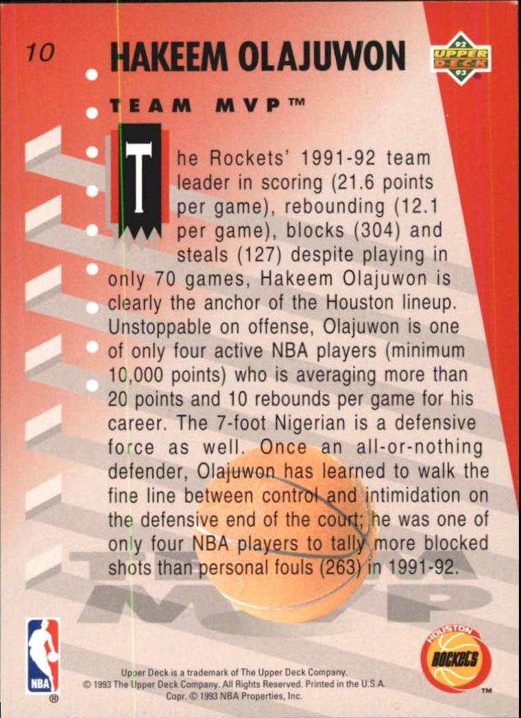 1992-93 Upper Deck MVP Holograms #10 Hakeem Olajuwon back image