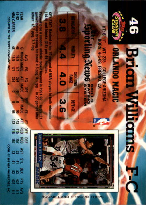 1992-93 Stadium Club Members Only Parallel #46 Brian Williams back image