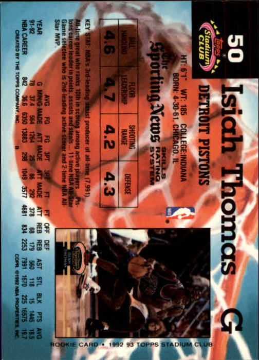 1992-93 Stadium Club Members Only Parallel #50 Isiah Thomas back image