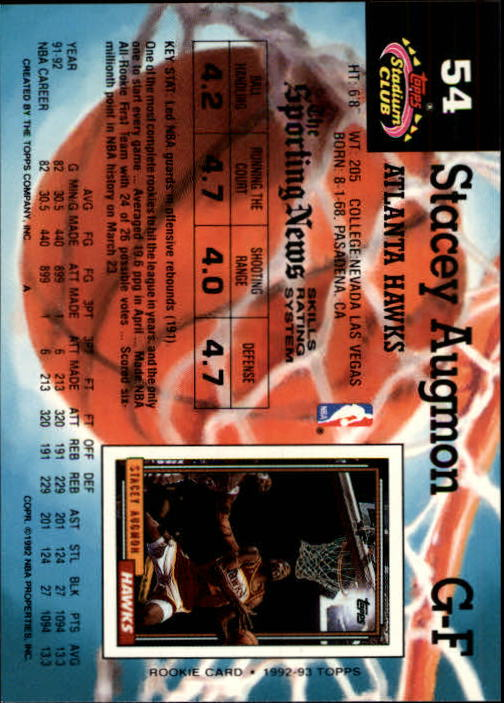 1992-93 Stadium Club Members Only Parallel #54 Stacey Augmon back image