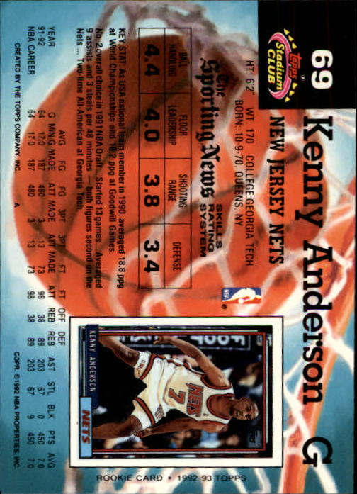 1992-93 Stadium Club Members Only Parallel #69 Kenny Anderson back image