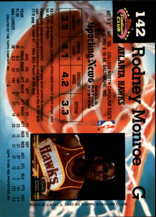 1992-93 Stadium Club Members Only Parallel #142 Rodney Monroe back image