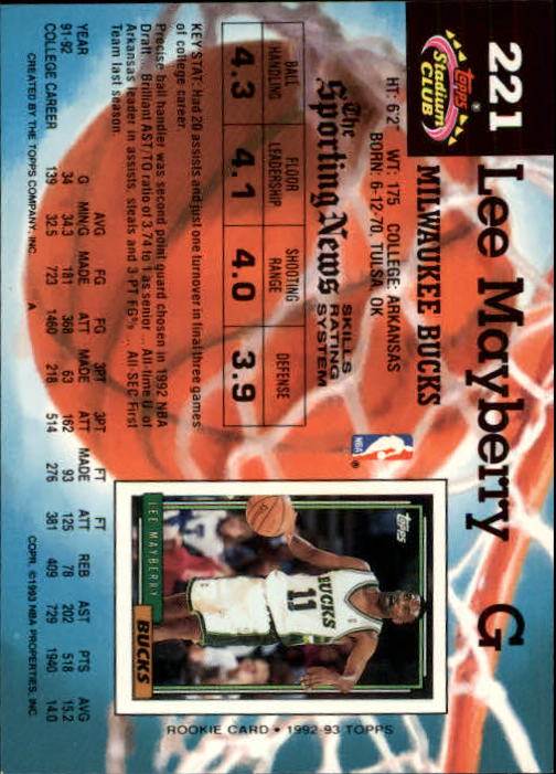 1992-93 Stadium Club Members Only Parallel #221 Lee Mayberry back image