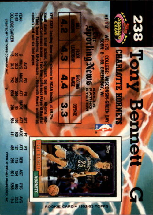 1992-93 Stadium Club Members Only Parallel #238 Tony Bennett UER/(Missing '92 Draft Pick logo) back image