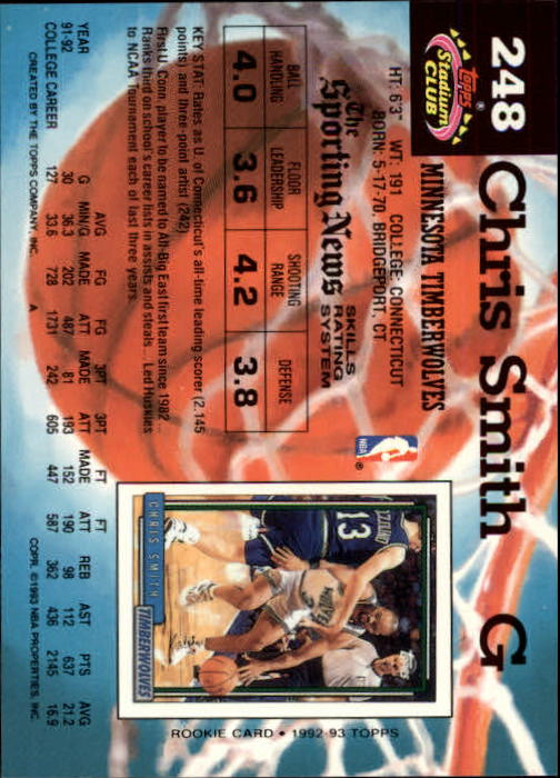 1992-93 Stadium Club Members Only Parallel #248 Chris Smith back image