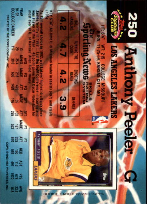 1992-93 Stadium Club Members Only Parallel #250 Anthony Peeler back image