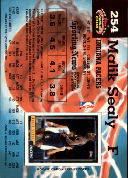1992-93 Stadium Club Members Only Parallel #254 Malik Sealy back image