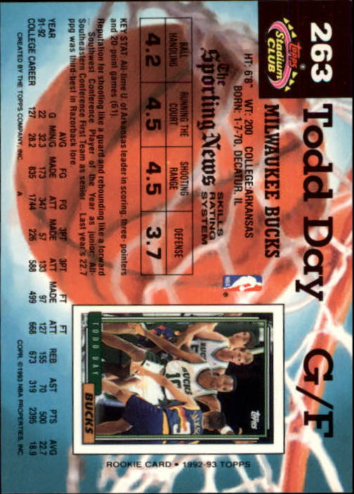 1992-93 Stadium Club Members Only Parallel #263 Todd Day back image