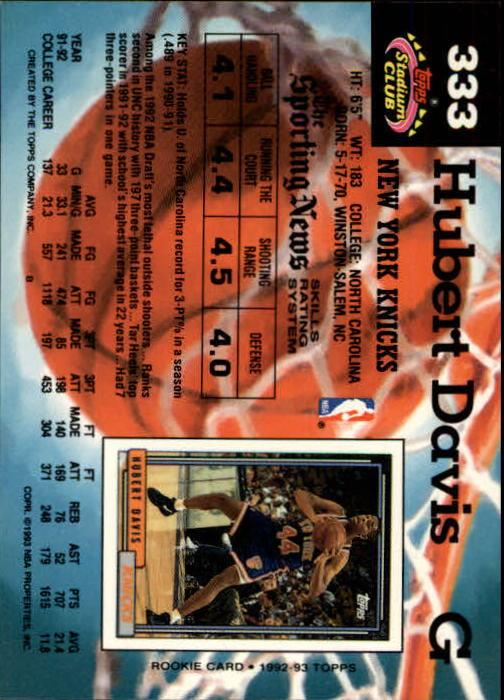 1992-93 Stadium Club Members Only Parallel #333 Hubert Davis UER/(Missing '92 Draft Pick logo) back image