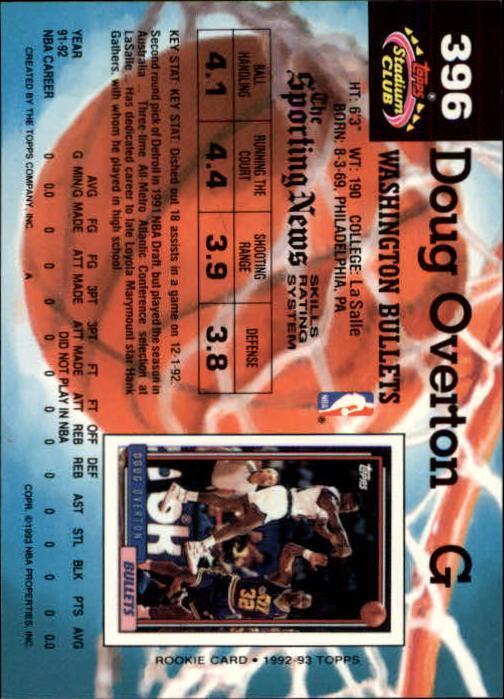 1992-93 Stadium Club Members Only Parallel #396 Doug Overton back image