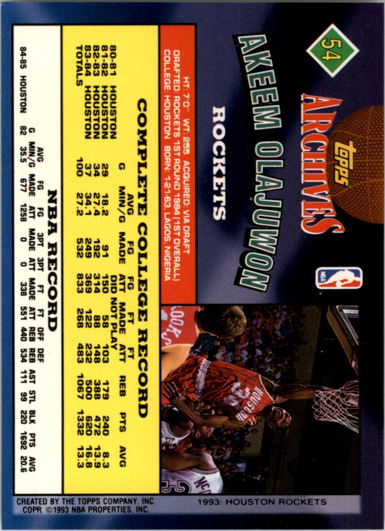 1992-93 Topps Archives Gold #54G Hakeem Olajuwon back image