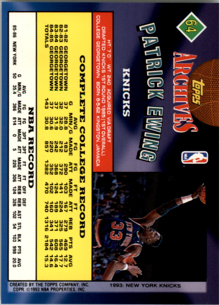 1992-93 Topps Archives Gold #64G Patrick Ewing back image