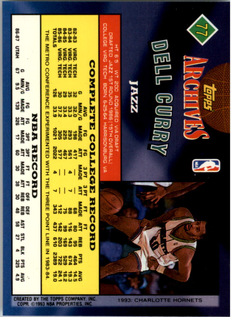 1992-93 Topps Archives Gold #77G Dell Curry back image