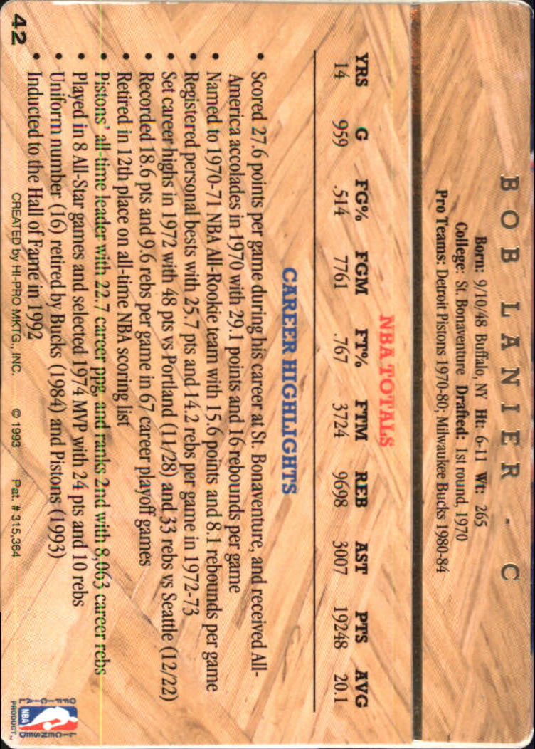 1993 Action Packed Hall of Fame #42 Bob Lanier back image