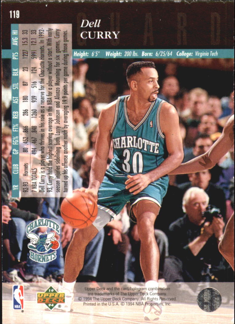 1993-94 Upper Deck SE Electric Court #119 Dell Curry back image