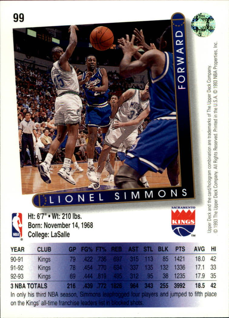 1993 94 Upper Deck 99 Lionel Simmons NM NewVintageNY