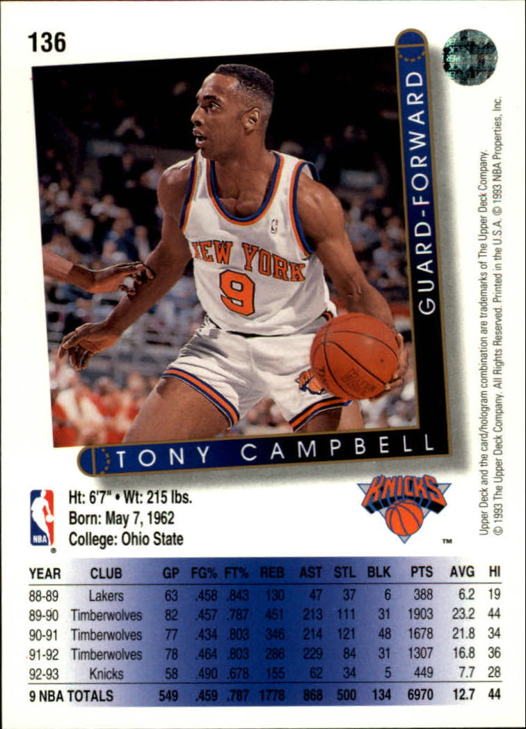 1993-94 Upper Deck #136 Tony Campbell back image