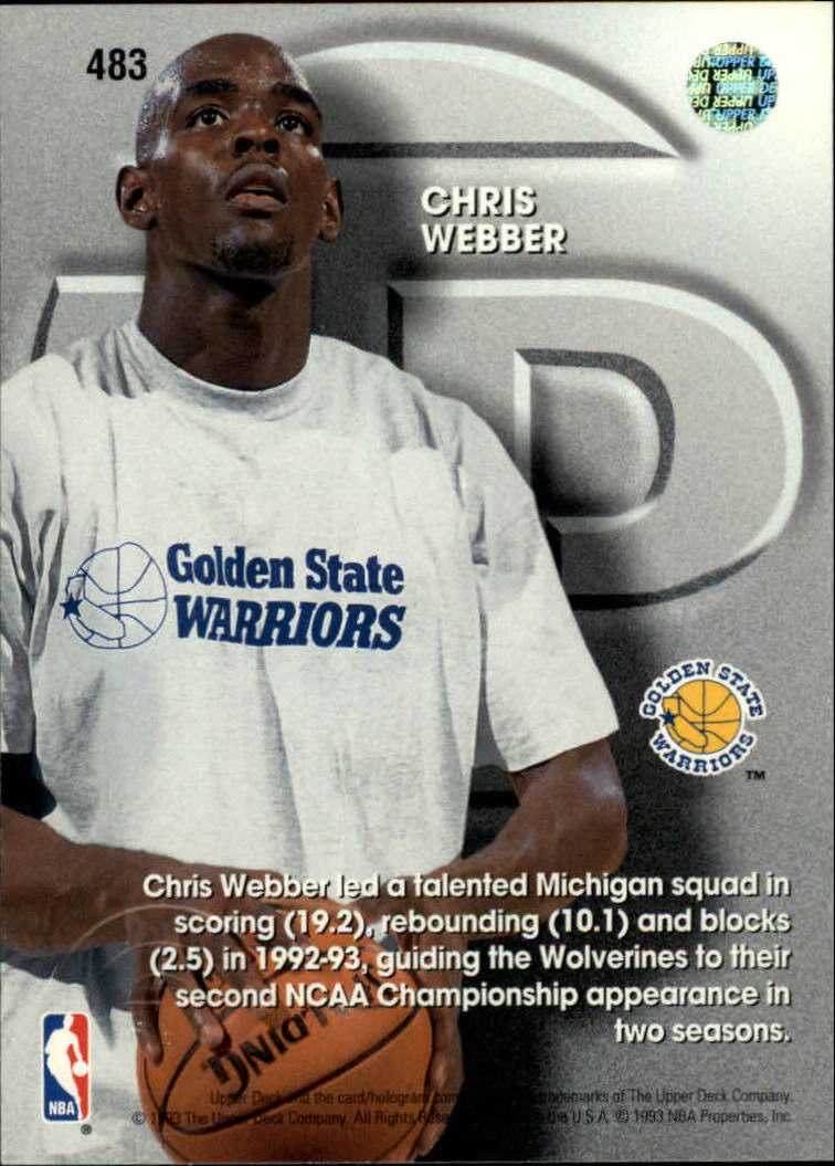 1993-94 Upper Deck #483 Chris Webber TP back image