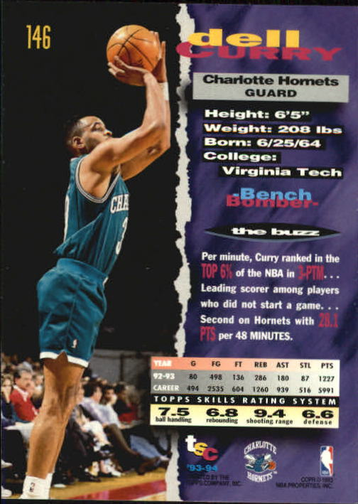 1993-94 Stadium Club #146 Dell Curry back image