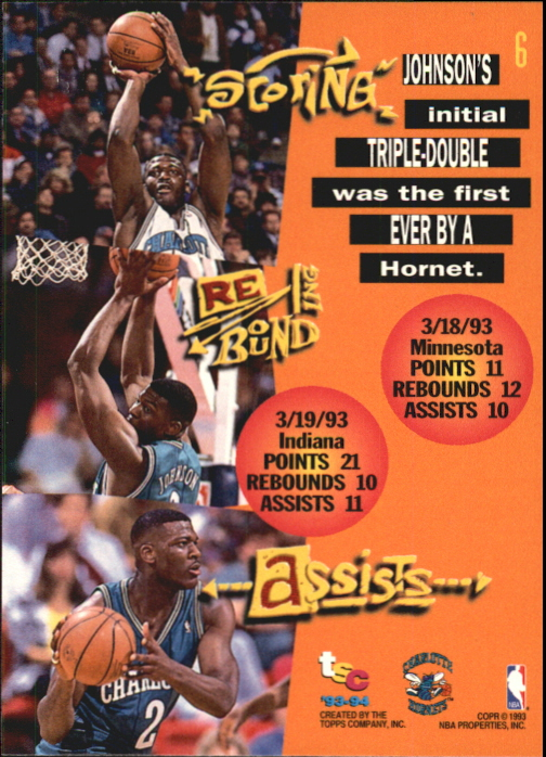 1993-94 Stadium Club First Day Issue #6 Larry Johnson TD back image