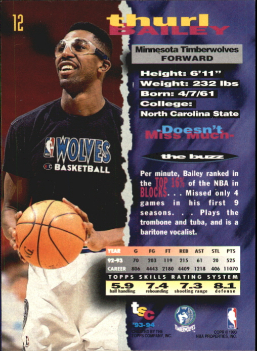 1993-94 Stadium Club First Day Issue #12 Thurl Bailey back image