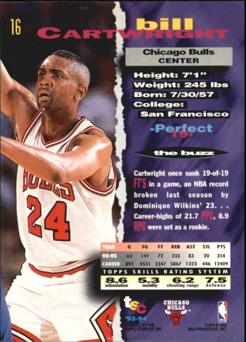 1993-94 Stadium Club First Day Issue #16 Bill Cartwright back image