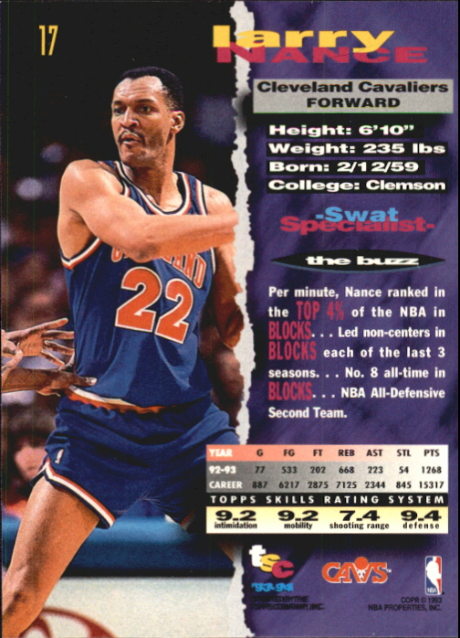 1993-94 Stadium Club First Day Issue #17 Larry Nance back image