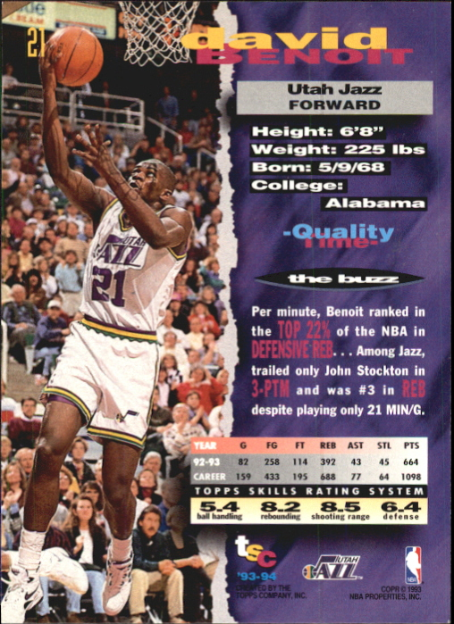 1993-94 Stadium Club First Day Issue #21 David Benoit back image