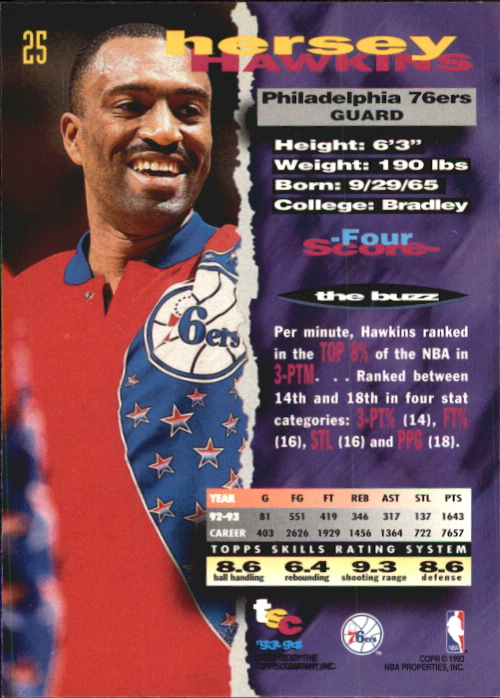 1993-94 Stadium Club First Day Issue #25 Hersey Hawkins back image