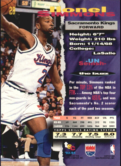 1993-94 Stadium Club First Day Issue #28 Lionel Simmons back image