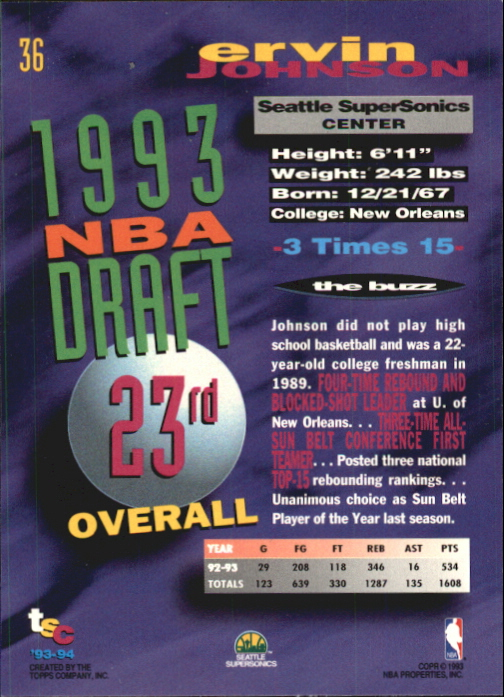 1993-94 Stadium Club First Day Issue #36 Ervin Johnson back image
