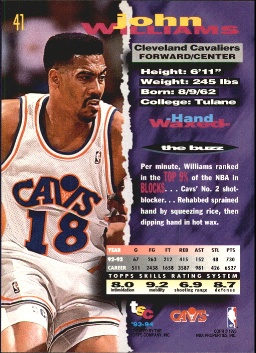 1993-94 Stadium Club First Day Issue #41 John Williams back image