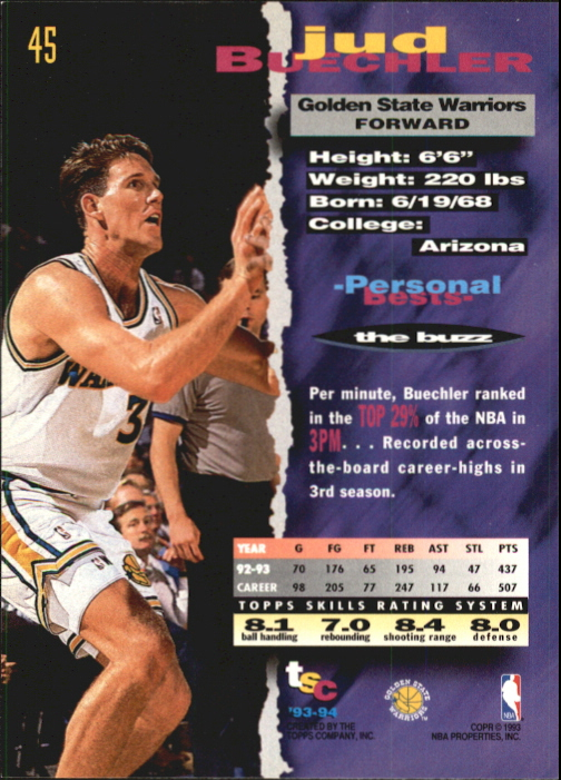 1993-94 Stadium Club First Day Issue #45 Jud Buechler back image