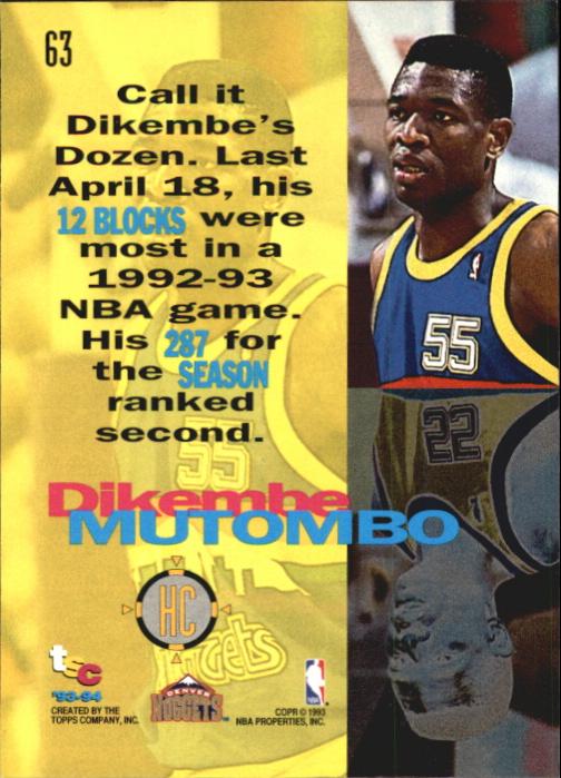 1993-94 Stadium Club First Day Issue #63 Dikembe Mutombo HC back image