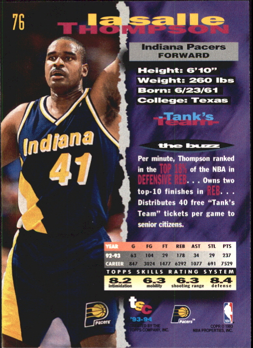 1993-94 Stadium Club First Day Issue #76 LaSalle Thompson back image