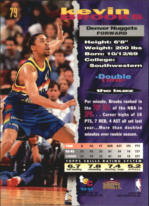 1993-94 Stadium Club First Day Issue #79 Kevin Brooks back image